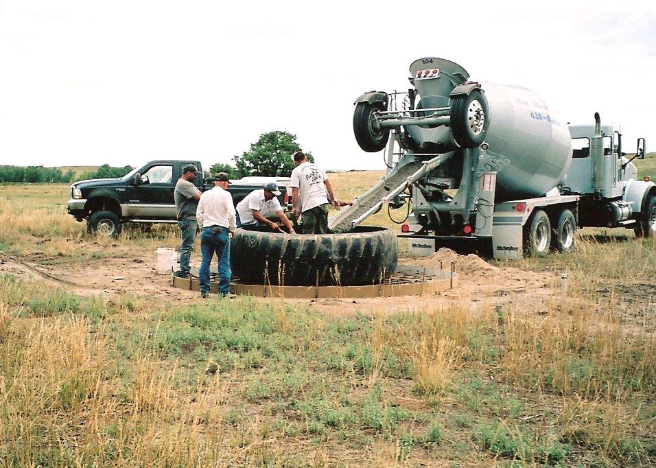pouring concrete base